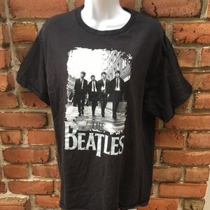 THE BEATLES Black Graphic T-Shirt size Large